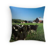 Dairy Cattle and Red Barn Throw Pillow