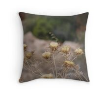 brownish flowers Throw Pillow