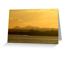 Twilight over Derryveagh mountains - with O'Doherty Castle from Inch Level Greeting Card