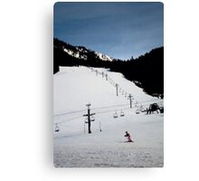 Ski Resort Beginner Hill with Girl Canvas Print