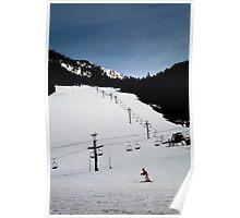 Ski Resort Beginner Hill with Girl Poster