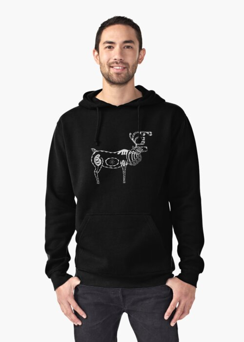Reindeer / Caribou White on Black by Wolfmouth