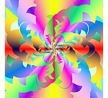 Fractured Fractal Fire Flower Flameout  Photographic Print