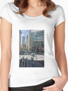 Downtown through Glass Women's Fitted Scoop T-Shirt