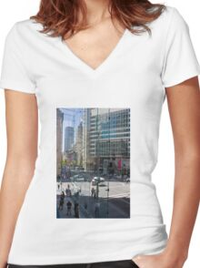 Downtown through Glass Women's Fitted V-Neck T-Shirt