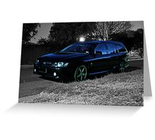 Black Holden Commodore wagon at night. Greeting Card