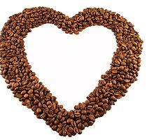 Coffee beans love heart frame by Johan Larson