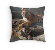 Malayan Tiger Cubs at Rest Throw Pillow