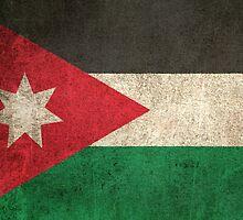 Old and Worn Distressed Vintage Flag of Jordan by Jeff Bartels