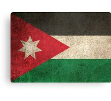 Old and Worn Distressed Vintage Flag of Jordan Canvas Print
