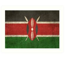 Old and Worn Distressed Vintage Flag of Kenya Art Print