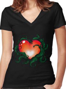 Mystery Heart - Red  Women's Fitted V-Neck T-Shirt