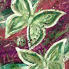Golden Green, Purple Stream Butterflies by Amy-lee Foley