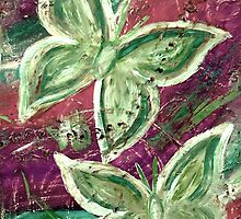 Golden Green, Purple Stream Butterflies by Amy-lee Foley