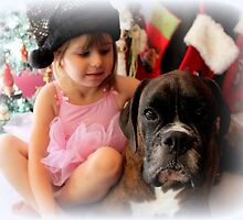 Girl And Dog Portrait by Evita