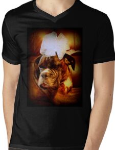 Boxer Dog With Bow - Boxer Dogs Series Mens V-Neck T-Shirt