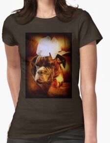 Boxer Dog With Bow - Boxer Dogs Series Womens Fitted T-Shirt