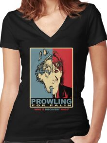 prowling for palin Women's Fitted V-Neck T-Shirt