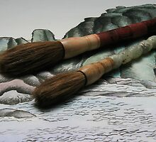 Chinese Ink Brushes on Mountain Background by Linda Watskin