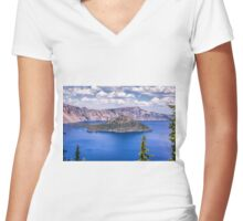 WIZARD ISLAND Women's Fitted V-Neck T-Shirt