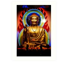 Statue of the Divine Buddha in a Temple in Chinatown Art Print