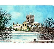 Tewkesbury Abbey in the snow south elevation Photographic Print