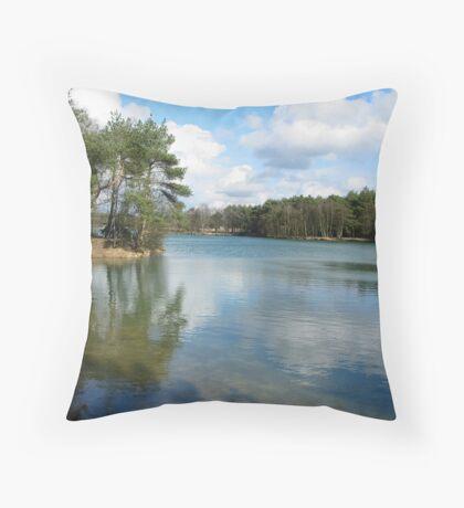 Blue Lake Mirror Throw Pillow