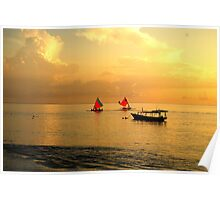 Quite sunrise on Gili island Poster