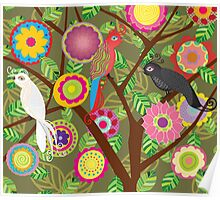 Whimsical flowers and birds Poster