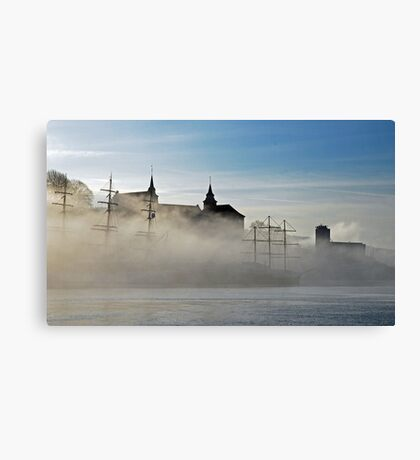 Misty morning in oslo Canvas Print