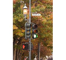 A one stoplight town - Main Street Photographic Print