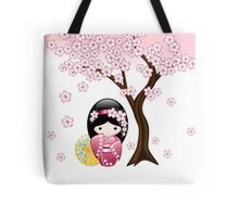 Japanese Spring Kokeshi Doll Tote Bag