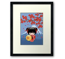 Japanese Red Sakura Kokeshi Doll Framed Print