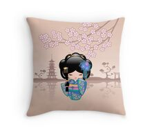 Japanese Keiko Kokeshi Doll Throw Pillow