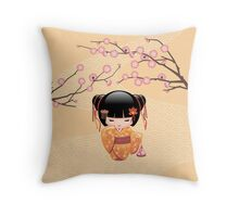 Japanese Ume Kokeshi Doll Throw Pillow