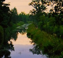 Canal at sunset wootton bassett by diamondphoto