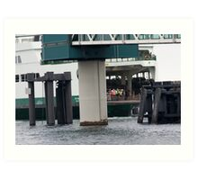 Ferry landing to offload cars Art Print
