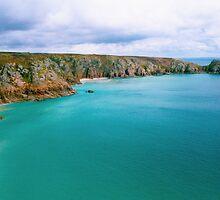 Porthcurno bay from Minack theatre by diamondphoto