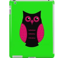 Black and Pink Owl (on green) iPad Case/Skin