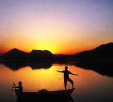 Fisherman at Sunset. by Nikolaz Godet