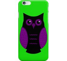 Black and Purple Owl (on green) iPhone Case/Skin