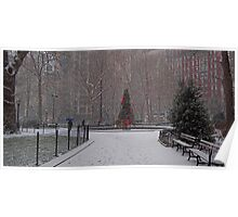 A Christmas Tree In the Snow, Madison Square Park, NYC Poster