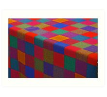 checkered cloth in primary colors Art Print
