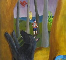Black Dog in Flying Chair Forest by Kay Hale