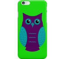 Purple and Aqua Owl (on green) iPhone Case/Skin