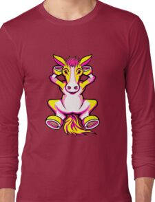 Relaxing Horse Pink Yellow and White Long Sleeve T-Shirt