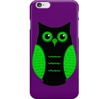 Black and Green Owl (on Purple) iPhone Case/Skin