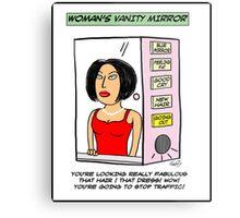 Woman's Vanity Mirror Cartoon Metal Print