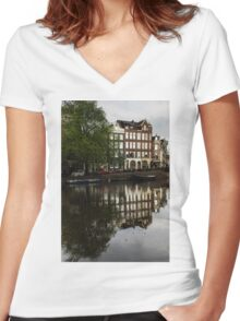 Amsterdam Canal Houses in the Rain Women's Fitted V-Neck T-Shirt