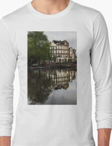 Amsterdam Canal Houses in the Rain Long Sleeve T-Shirt